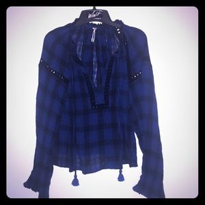 Free People NWOT plaid blue black tassel top S